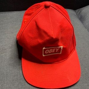 Obey red hat snap back hat